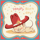 Cowboy happy birthday card with little baby in big western sheri Stock Image