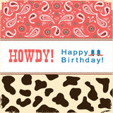Cowboy happy birthday card with text.Vector child card Stock Photography