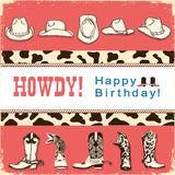 Cowboy happy birthday card with western hats and boots.Vector ch Stock Images