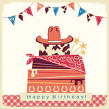 Cowboy happy birthday party card with cake and cowboy hat Royalty Free Stock Photography