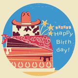 Cowboy happy birthday.Western card with cake and cowboy hat Stock Photo