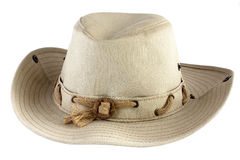 Cowboy hat. Beige cowboy hat isolated on white background Royalty Free Stock Photos