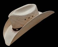 Cowboy Hat. White cowboy hat on black background Stock Image