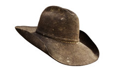 Cowboy hat. Well worn leather cowboy hat with all grunge intact. Work path royalty free stock photography