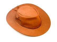 Cowboy hat. Light brown cowboy hat isolated on white background stock image