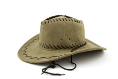 Cowboy hat. Green colored cowboy hat isolated on white background stock photography