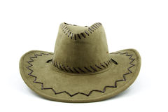 Cowboy hat. Green colored cowboy hat isolated on white background stock images