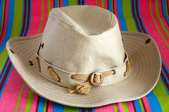 Cowboy hat on beach mat Royalty Free Stock Photo