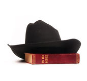 Cowboy hat and bible Royalty Free Stock Photography