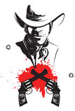 Cowboy in hat with blood guns. Royalty Free Stock Photography