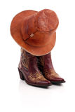 Cowboy Hat on Boots. Stock Photo