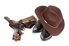 Cowboy Hat, Boots And Gun Royalty Free Stock Photos