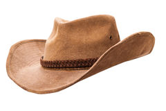 Cowboy hat closeup. Isolated on a white background royalty free stock image