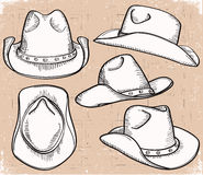 Cowboy hat collection  on white for design Royalty Free Stock Image
