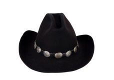 Black Stetson Cowboy Hat with Concho Hatband. Stock Photos