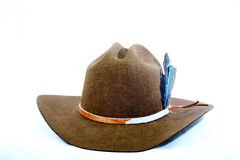 Cowboy hat with cowhide hat band and feathers. Royalty Free Stock Images