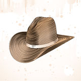 Cowboy hat in engraving style Stock Photos