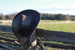 Cowboy hat fence Royalty Free Stock Images