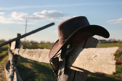 Cowboy hat fence Royalty Free Stock Photos