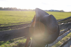 Cowboy hat fence Royalty Free Stock Image