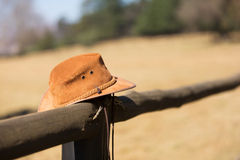 Cowboy hat fence Royalty Free Stock Photography