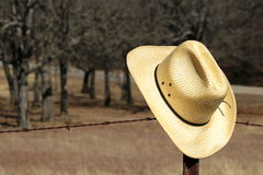 Cowboy Hat on Fence. A yellow straw cowboy hat sits on a metal barbed wire fence post with trees and a pasture in the background stock photo