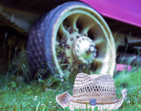 Cowboy hat on the grass Stock Photos