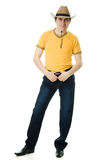 Cowboy in a hat holding hands at the waist Royalty Free Stock Photos