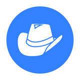 Cowboy hat icon black. Singe western icon from the wild west black. Stock Image