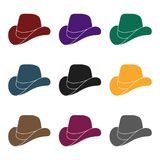 Cowboy hat icon in black style isolated on white background. Patriot day symbol stock vector illustration. Royalty Free Stock Photos