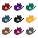 Cowboy hat icon in black style isolated on white background. Wlid west symbol stock vector illustration. Cowboy hat icon in black style isolated on white Royalty Free Stock Photo