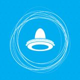 Cowboy hat icon on a blue background with abstract circles around and place for your text. royalty free illustration