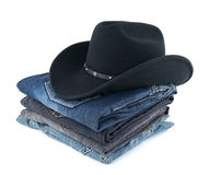 Cowboy hat and jeans for a man Stock Photos