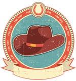 Cowboy hat label on old paper stock illustration