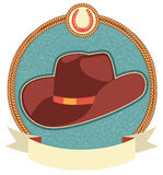 Cowboy hat label with scroll for text Stock Photos
