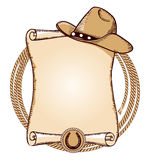 Cowboy hat and lasso.Vector American illustration. Cowboy hat and lasso.Vector American background for text Stock Images