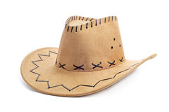 Cowboy hat. A leatherette cowboy hat on a white background Stock Photos