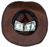 Cowboy hat with lucky bill isolated on white Stock Photos