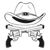 Cowboy hat with a pair of crossed guns stock illustration