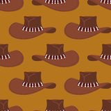 Cowboy hat pattern. Australian cap background. Western clothing Stock Photo