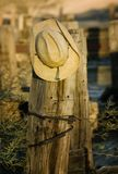 Cowboy Hat on a Post Stock Image