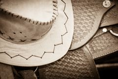 Cowboy hat, saddle strings, skirt, horse objects,. Cowboy hat, saddle strings, skirt, horse competition equipment. Taking care of animals concept stock photography