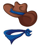 Cowboy hat and scarf. Illustration with simple gradients. Royalty Free Stock Photo