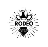 Cowboy hat and scarf. Wild West Label. Rodeo Competition Badge. Western Illustration. Vector Stock Images