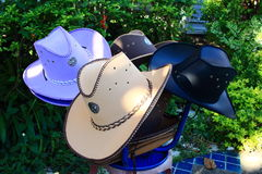 Cowboy Hat With Seals of the provinces of Thailand Hanging On Leg Chair Stock Photography