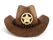 Cowboy hat with sheriff badge. Isolated on white background Stock Photos