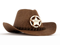 Cowboy hat with sheriff badge. On white background Royalty Free Stock Images