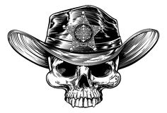 Cowboy Hat Sheriff del cranio illustrazione di stock