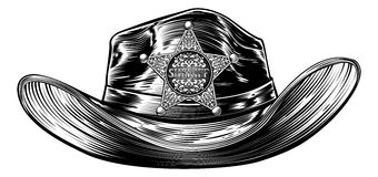 Cowboy Hat with Sheriff Star Badge. A cowboy hat with a sheriffs star shaped badge in a vintage retro etched or woodcut style Stock Image