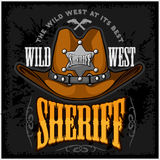 Cowboy hat and sheriffs star - vector badge emblem Stock Photography